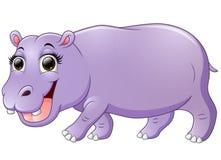 Happy hippo cartoon walking Stock Images