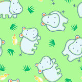 Happy hippo with friendly bird seamless pattern Royalty Free Stock Photography