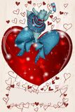 Happy Hippo Valentine with heart and ribbon. Happy dancing Hippo Valentine with heart and ribbon Stock Images