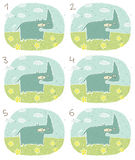 Happy Hippo Visual Game. For children. Illustration is in eps8  mode! Task: Find two identical images (match the pair)! Answer: No. 3 and 6 Royalty Free Stock Photo