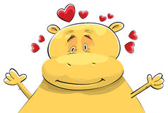Happy Hippopotamus in Love Royalty Free Stock Image