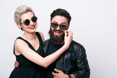 Happy hipster couple in love having fun Stock Photo
