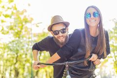 Happy hipster couple royalty free stock photography