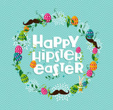 Happy Hipster Easter colorful wreath Stock Photos