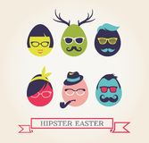 Happy Hipster Easter - set of stylish eggs icons Stock Photo