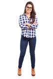 Happy hipster girl with glasses Stock Images