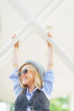 Happy hipster girl having fun in the city Royalty Free Stock Image