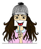 Happy Hipster girl holding card with funny smiley on white background. Cartoon vector,Happy Hipster girl holding card with funny smiley on white background Stock Photos