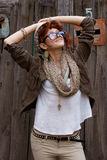 Happy hipster girl outdoors stock photo