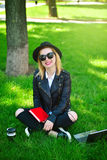 Happy hipster girl Royalty Free Stock Photo