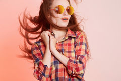 Happy hipster girl in sunglasses Royalty Free Stock Photos