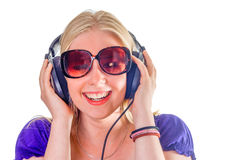 Happy hipster listening to music stock photo