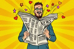 Happy hipster reads the newspaper news Stock Photo