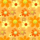 Happy Hipster Retro Daisy Flowers. A cute cartoon happy floral background pattern Royalty Free Illustration