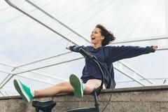 Happy hipster teenage girl Stock Photos