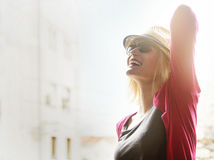 Happy hipster woman enjoy summer in the city Stock Image