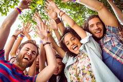 Happy hipsters dancing to the music Royalty Free Stock Photo