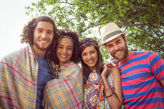 Happy hipsters smiling at camera Stock Photography