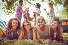 Happy hipsters smiling at camera Royalty Free Stock Photo