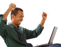 Happy with his accomplish. Man happy with his accomplish Stock Photography