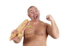 Happy with his sandwich Stock Photo
