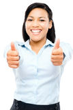 Happy hispanic business woman thumbs up isolated on white backgr Stock Photography