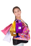 Happy hispanic female shopper holding shopping Stock Images
