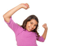 Happy Hispanic Girl Dancing Isolated Stock Image