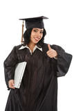 Happy Hispanic Graduate Student Holding Laptop Royalty Free Stock Images