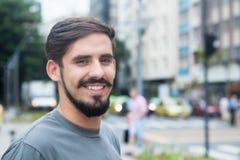 Happy hispanic guy with beard Royalty Free Stock Photo
