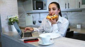 Happy Hispanic Woman Finish Work On Laptop Computer At Kitchen stock video footage