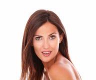 Happy hispanic woman smiling at camera Stock Images