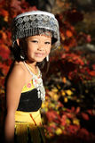 Happy Hmong Girl In Traditional dress in the fall Royalty Free Stock Photography