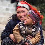 Happy Hmong Woman and Child, Sapa, Vietnam stock image