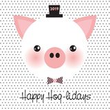 Happy Hog-lidays!. Cute little pig with bow tie. Happy Hog-lidays 2019 greeting card. Chinese year of pig. Merry Christmas and Happy new year. Vector EPS 10 royalty free illustration