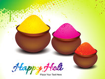 Happy holi background with colors pot Stock Image