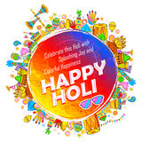 Happy Holi Background for Festival of Colors celebration greetings. Illustration of colorful Happy Holi Background for Festival of Colors celebration greetings Stock Photo