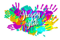 Happy holi on a background of hand prints Stock Images