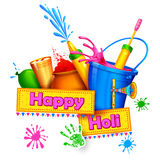 Happy Holi Background. Illustration of spalsh with Holi object coming out from bucket stock illustration