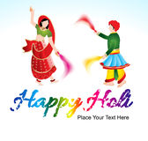 Happy holi background with traditional indian couple Stock Photography