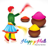 Happy holi background with traditional indian man Royalty Free Stock Images