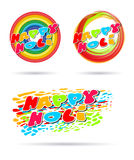 Happy Holi banner set. Stains, smears of paint and the inscription Stock Photo