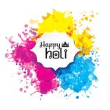 Holi spring festival of colors vector design element and sign. Happy holi blur abstract banner with hand drawn sign color and medal Royalty Free Stock Photography