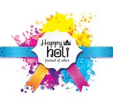 Holi spring festival of colors vector design element and sign. Happy holi blur abstract banner with hand drawn sign color and medal Royalty Free Stock Images