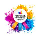 Holi spring festival of colors vector design element and sign. Happy holi blur abstract banner with hand drawn sign color and medal Stock Photography