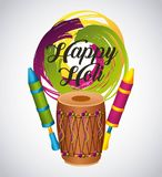 Happy holi card with instrument dholak traditional indian. Vector illustration Stock Images