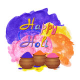 Happy holi celebration background with tradition mud pots, gulal colors powder, watercolor splashes. Stock Photo