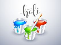 Happy Holi celebration concept with realistic buckets full of water colours and color gun. Happy Holi celebration concept with realistic buckets full of water stock illustration