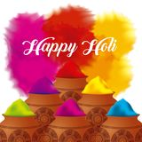Happy holi color powder decorated poster Royalty Free Stock Images