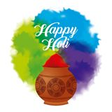 Happy holi color powder decorated poster Stock Images